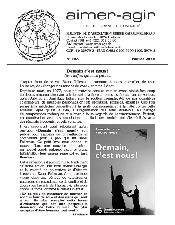 "Aimer-Agir Association Suisse Raoul Follereau - Journal ""Aimer-Agir"""